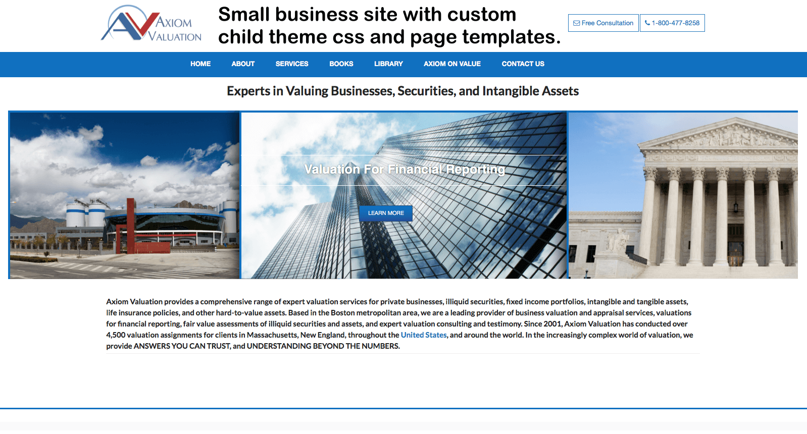 Financial Valuation Services WordPress Website