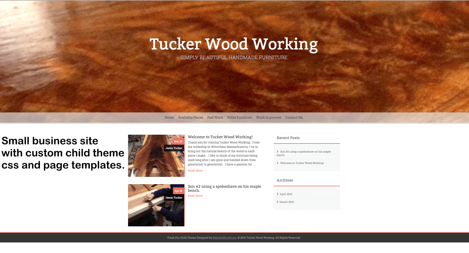 Craft Woodworking WordPress Website