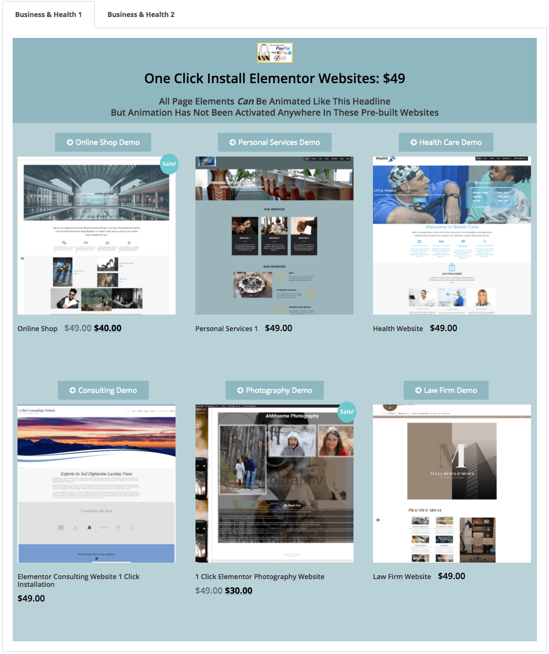 1 Click Installation Elementor Pre-built Websites