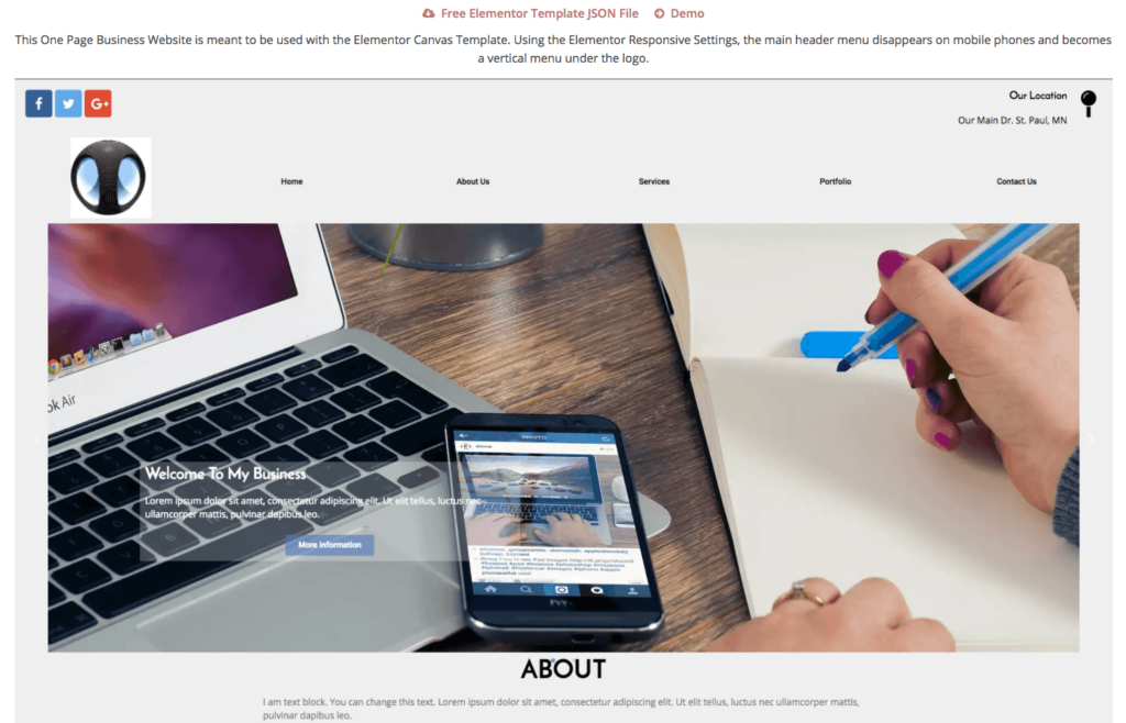 Free Elementor One Page Business Website