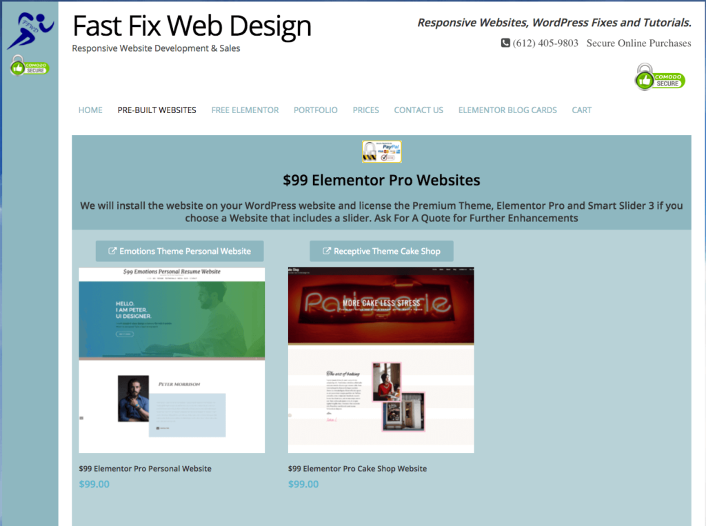Fast Fix Web Design Adds $99 Elementor Pro Websites! - MikeGriffin.me