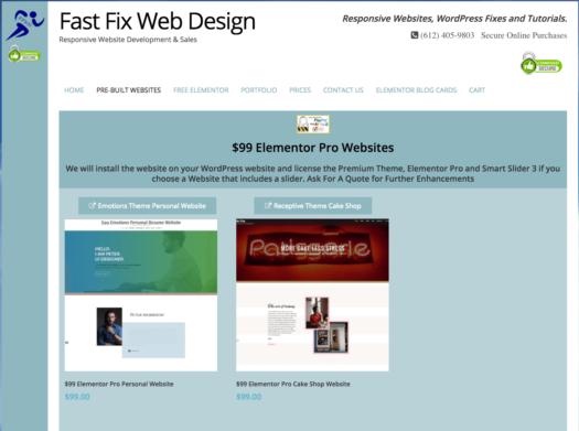 Fast Fix Web Design Adds $99 Elementor Pro Websites!